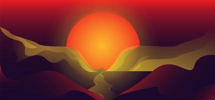 conception de paysage de montagne au coucher du soleil vecteur