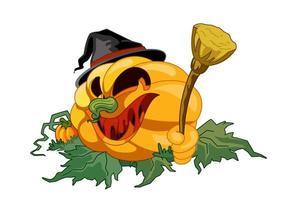 visage de citrouille d'halloween tenant un balai vecteur
