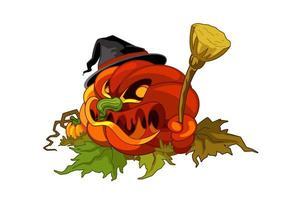 Halloween visage de citrouille maléfique tenant un balai vecteur