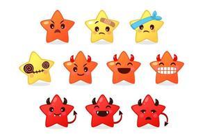collection de différentes émoticônes d'étoile mignonne