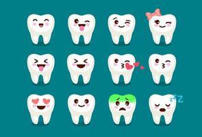 ensemble, de, mignon, dents dentaires, emoji vecteur