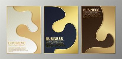 modèles de couverture minimale avec des formes dorées vecteur