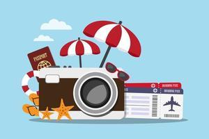 concept de voyage appareil photo et accessoires vecteur
