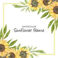 cadre floral de tournesol aquarelle peint à la main vecteur