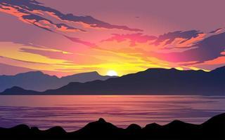 coucher de soleil spectaculaire sur le lac vecteur