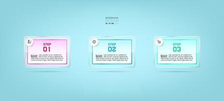 rectangles de verre, conception de modèle infographique en 3 étapes