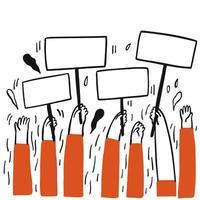 mains levées et tenant des pancartes vierges