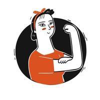 femme posant avec des bras forts vecteur