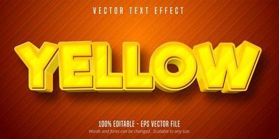 effet de texte modifiable de style de jeu de dessin animé jaune vecteur