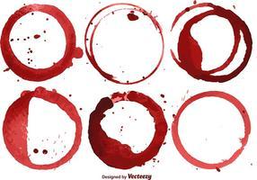 Ensemble vectoriel de 6 taches de vin