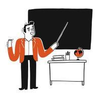 enseignant en classe avec un tableau noir vierge vecteur