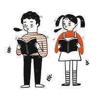 petits enfants tenant des livres vecteur