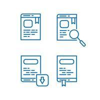 ensemble d & # 39; icônes de livre et de livre électronique