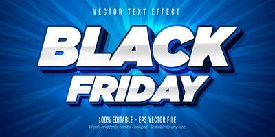 texte de vendredi noir blanc et bleu, effet de texte modifiable vecteur