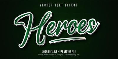 effet de texte modifiable de contour de héros vert et argent brillant