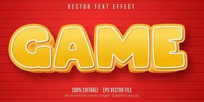 effet de texte modifiable de style de dessin animé de jeu rayé jaune vecteur