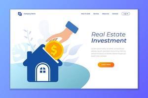 conception de page de destination d'investissement immobilier vecteur