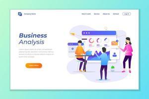 analyse de données commerciales, page de destination de marketing numérique vecteur