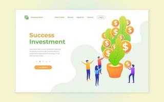 page de destination du succès de l'investissement
