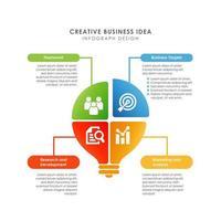 modèle de conception infographique ampoule colorée vecteur