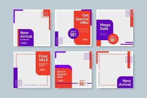 modèle de publication sur les réseaux sociaux de vente rouge et violet vecteur