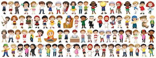 enfants de différentes nationalités sur fond blanc vecteur