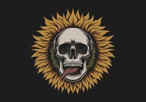 illustration de crâne de tournesol vecteur