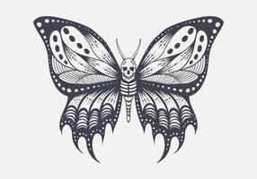 illustration de papillon de crâne vecteur