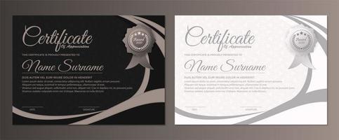 prix du certificat avec une couleur sombre et blanche