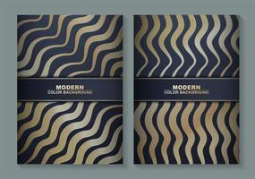 couvertures minimales avec des lignes ondulées dorées vecteur