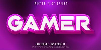 effet de texte modifiable de style cartoon gamer rose et blanc vecteur