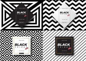 bannières de vente vendredi noir motif noir et blanc