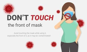 ne touchez pas à l'avant de l'affiche du coronavirus du masque