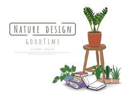 plante en pot, livre et tabouret sur blanc