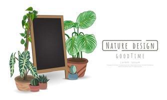 plantes en pot et tableau noir sur blanc