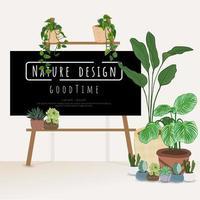 plantes en pot avec tableau pour écrire des messages