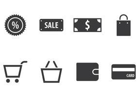 Ensemble d'icônes d'achats vecteur