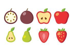 Icônes de vecteur de fruits en tranches