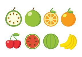 Icônes de vecteur de fruits plats