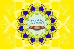 fond avec lanterne mandala pour joyeux festival de diwali vecteur