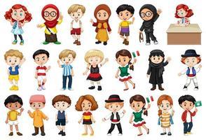 grand nombre d & # 39; enfants faisant des activités différentes vecteur