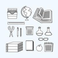 retour à l'école jeu d'icônes de travail en ligne