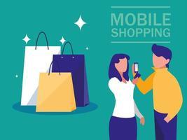mini personnes avec smartphone et achats en ligne