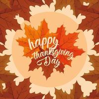joyeux jour de Thanksgiving avec des feuilles