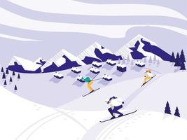 scène de neige du camp de ski vecteur