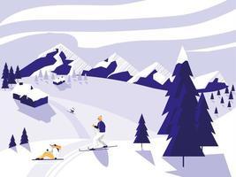scène de neige du camp de ski
