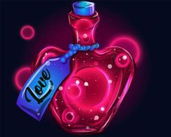 amour dans une conception de bouteille magique