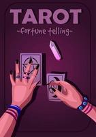 affiche de lecture de tarot avec éclairage violet violet et texte vecteur