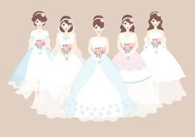 Robe de mariée et de demoiselle d'honneur vecteur
