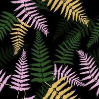 motif de feuilles de fougère colorée vecteur
